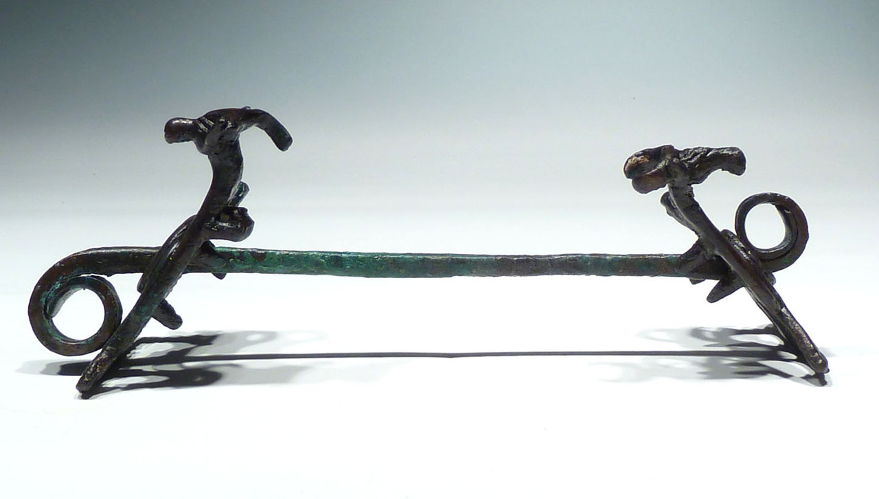 MUSEUM-CLASS ANCIENT CHARIOT LURISTAN BRONZE HORSE BIT WITH IBEX CHEEK-PIECES  *LUR196