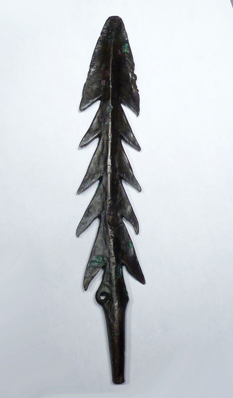 FINEST LARGE ANCIENT COPPER HARPOON SPEARHEAD FROM THE COPPER HOARD GANGETIC CULTURE  *LUR198