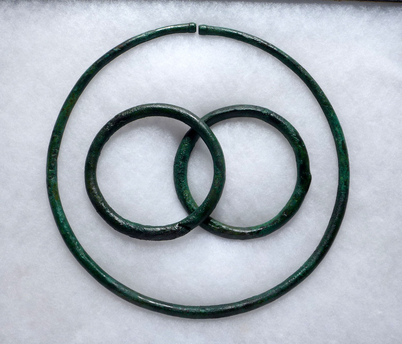 MUSEUM-CLASS CELTIC ANCIENT PRESTIGE BRONZE TORC NECK RING AND BRACELET SET  *CEL004