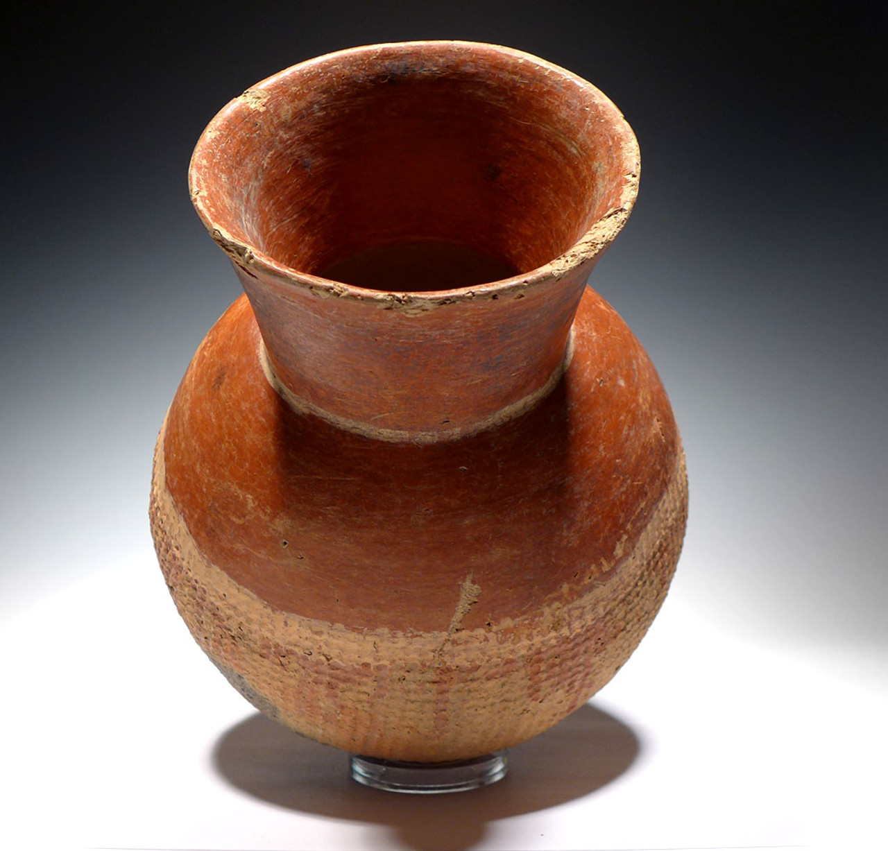 FINEST OF THE COLLECTION - EXTREMELY RARE RED AFRICAN NEOLITHIC FLARED RIM CERAMIC POT FROM THE WEST SAHEL  *PCAP03
