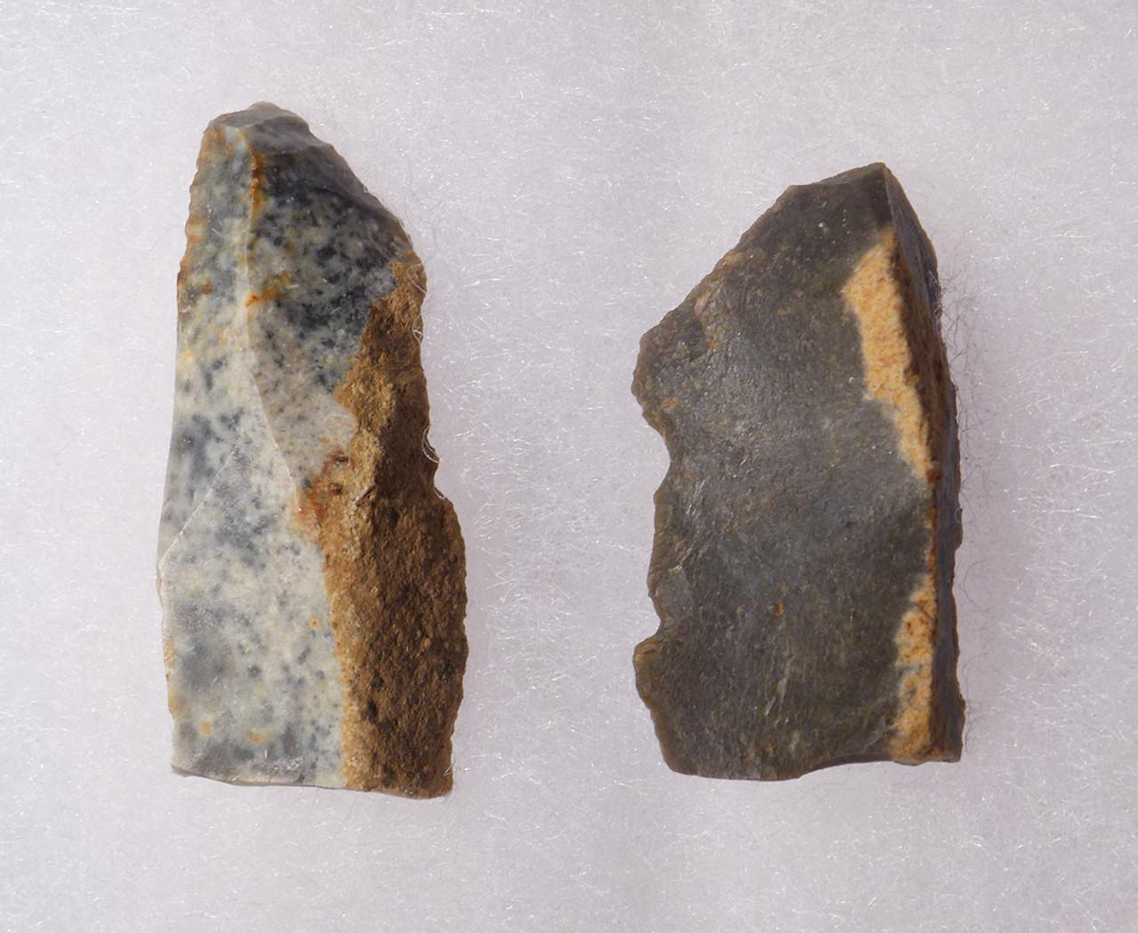 TWO SMALL UPPER PALEOLITHIC STONE KNIVES FROM FAMOUS AURIGNACIAN CRO-MAGNON SITE LA ROCHETTE FRANCE  *UP043