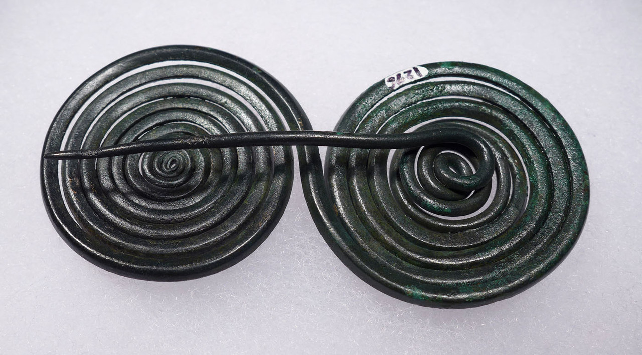FINEST ANCIENT JEWELRY DOUBLE SPIRAL PIN FROM BRONZE AGE EUROPE  *CEL023