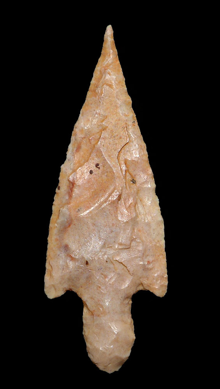 FINEST MOTTLED PINK TAPERED NEEDLE TIP ARROWHEAD OF THE CAPSIAN AFRICAN NEOLITHIC  *CAP279