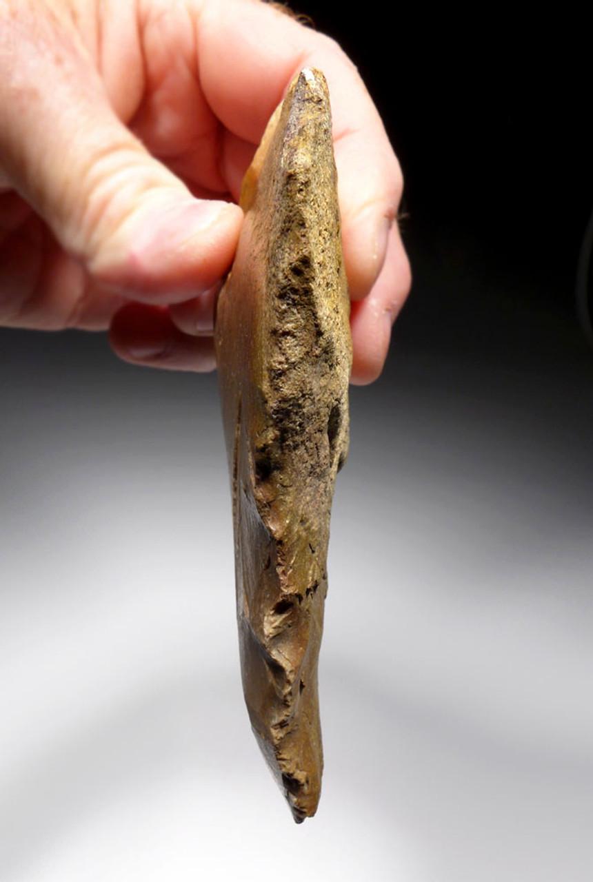 RARE GOLDEN JASPER NEANDERTHAL MOUSTERIAN UNIFACIAL BIFACE HAND AXE FROM FONTMAURE FRANCE  *M422
