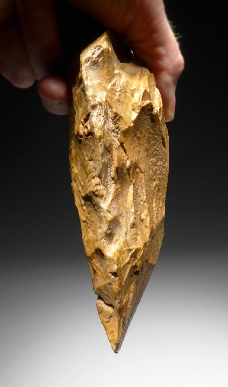 RARE GOLDEN JASPER ACHEULEAN PRESTIGE CLEAVER HAND AXE FROM WEST AFRICA  *ACH286