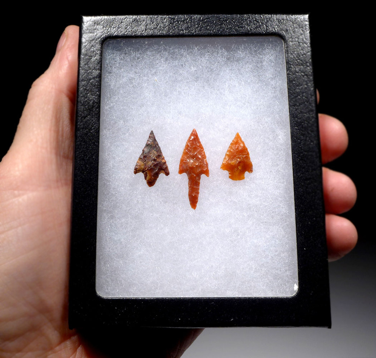 SMALL RARE CARNELIAN GEM AFRICAN CAPSIAN NEOLITHIC ARROWHEADS OF SUPREME FLAKING  *CAP297
