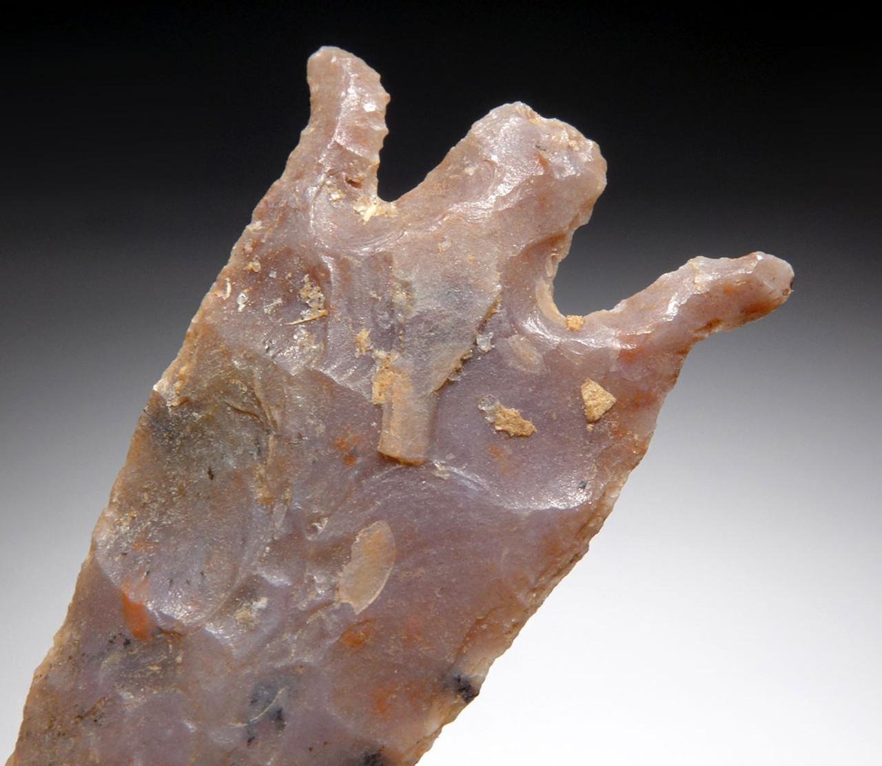RARE CAPSIAN AFRICAN NEOLITHIC FLARED CURVE BARB ARROWHEAD  *CAP299