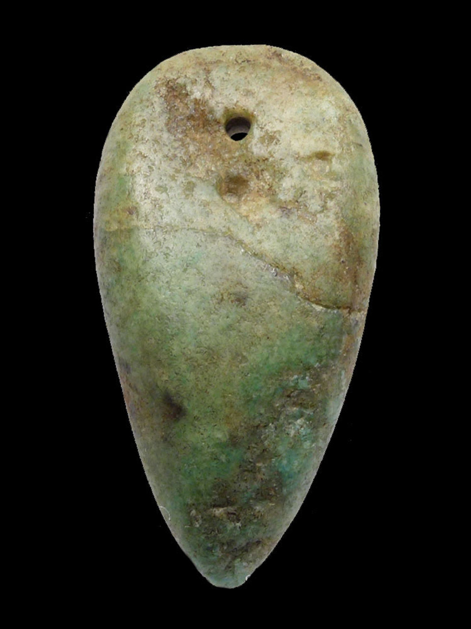 CAPSIAN AFRICAN NEOLITHIC LARGE DRILLED GEMSTONE PENDANT IN AMAZONITE  *CAP303