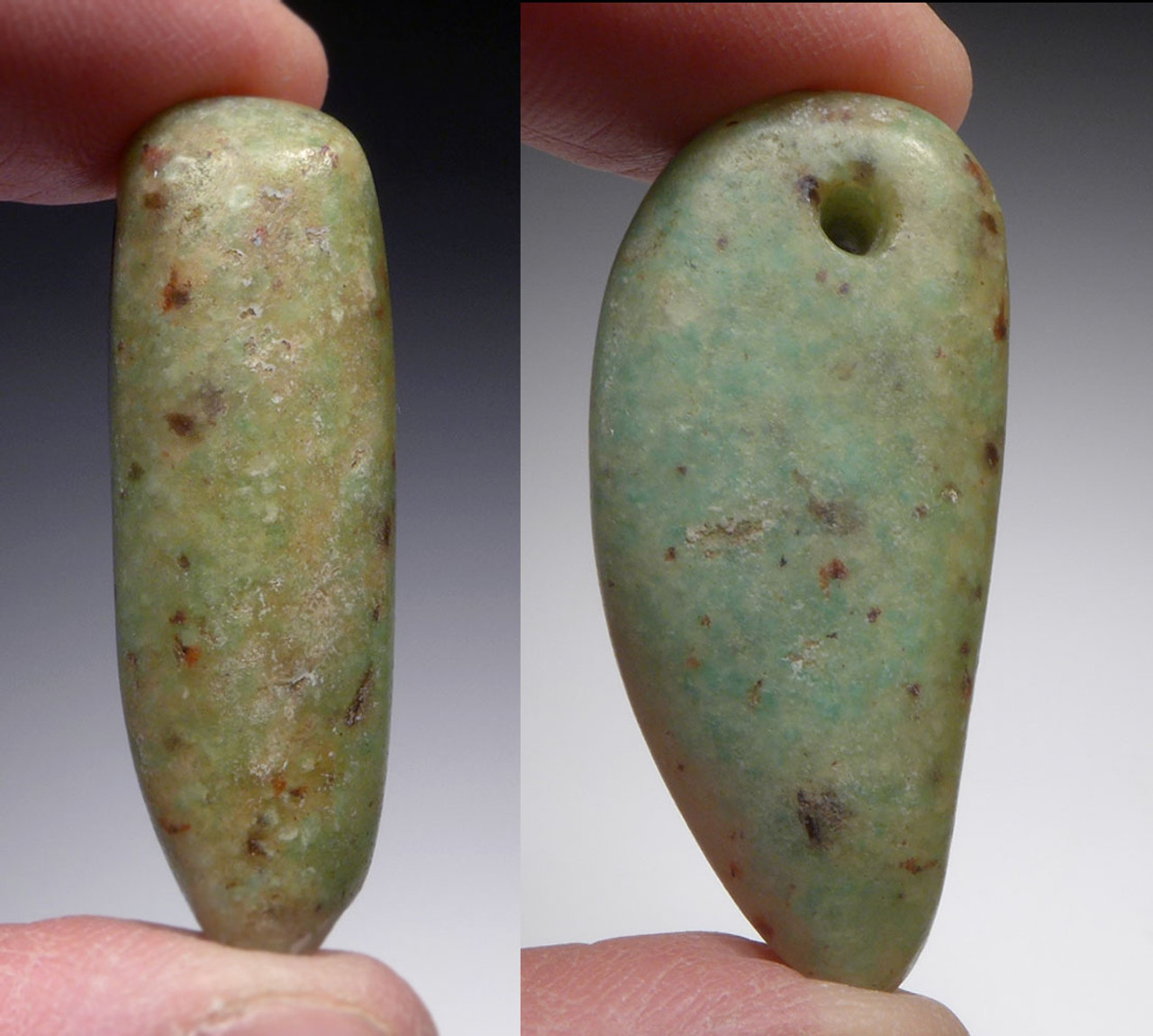 CHOICE CAPSIAN AFRICAN NEOLITHIC LARGE DRILLED GEMSTONE PENDANT IN AMAZONITE  *CAP304