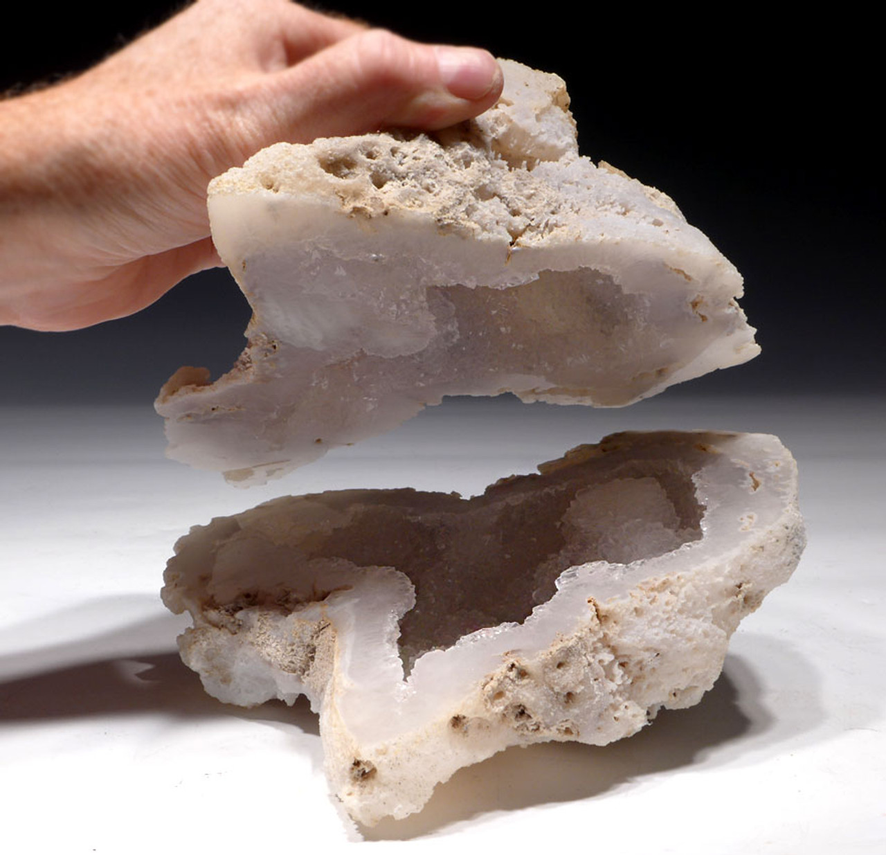 "COR121 - ULTRA-RARE LARGE  ""ICE CAVE"" COMPLETE FOSSIL CORAL COLONY GEODE WITH LARGE QUARTZ CRYSTALS LINING CAVITY"