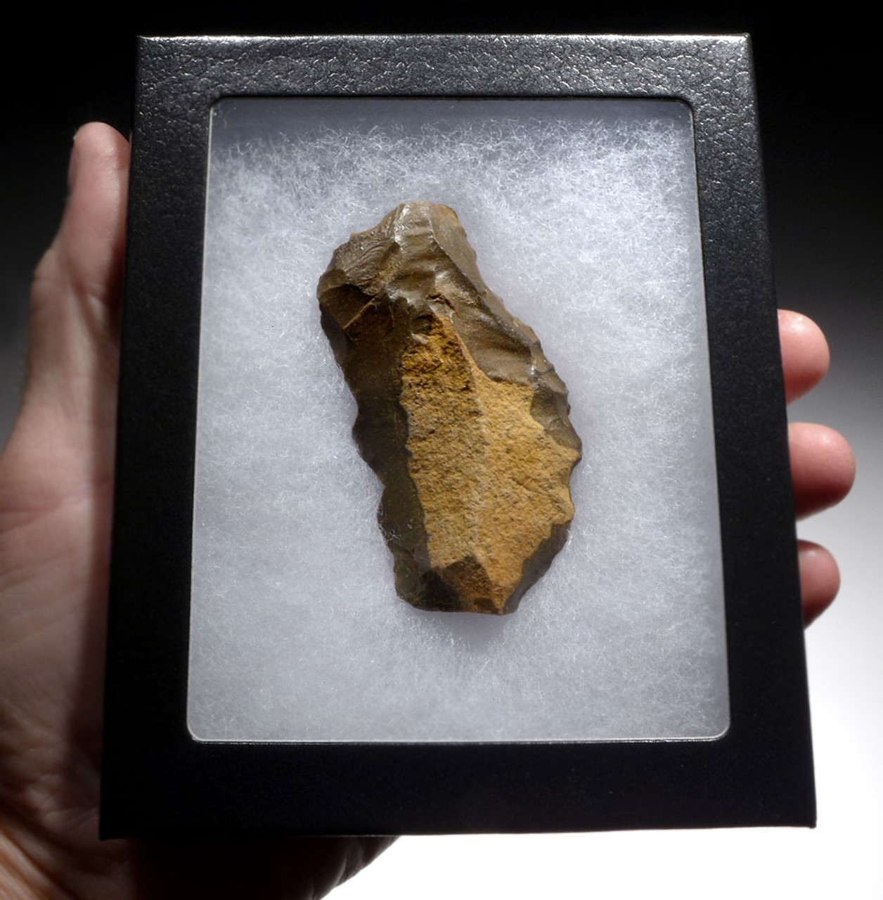 CHOICE NEANDERTHAL MOUSTERIAN DOUBLE SIDE SCRAPER FLAKE TOOL FROM CAEN FRANCE  *M443
