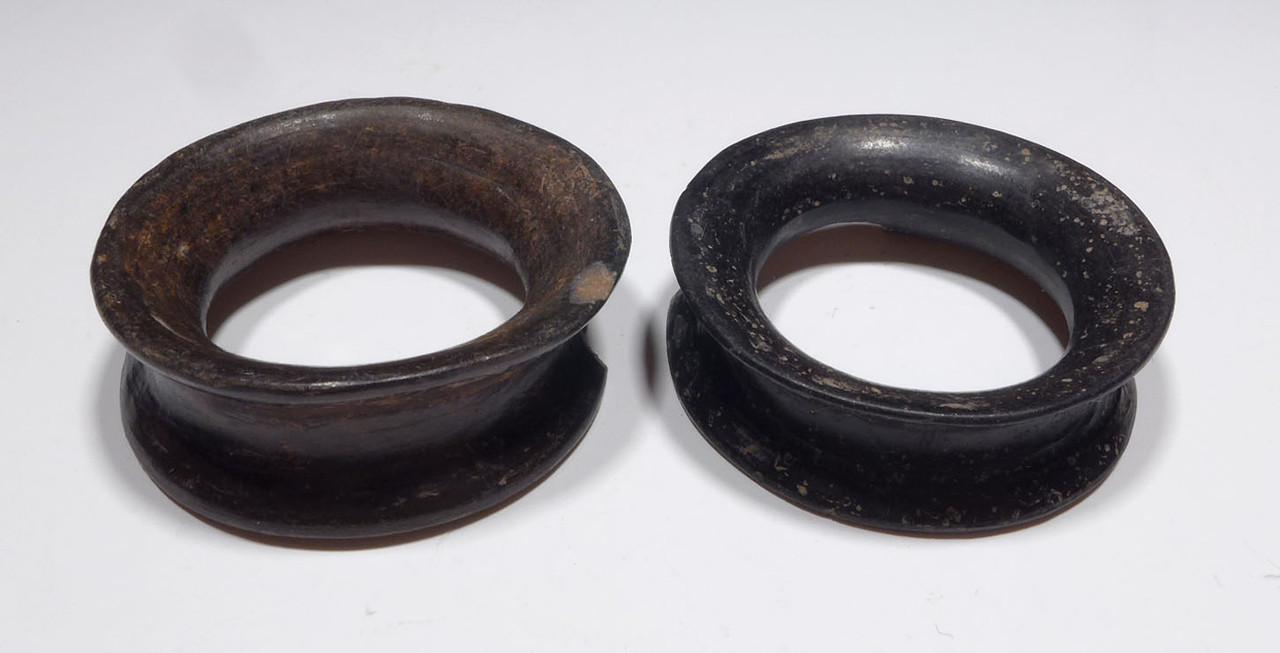 TWO BLACK BURNISHED CERAMIC PRE-COLUMBIAN AZTEC EAR SPOOLS  *PC343