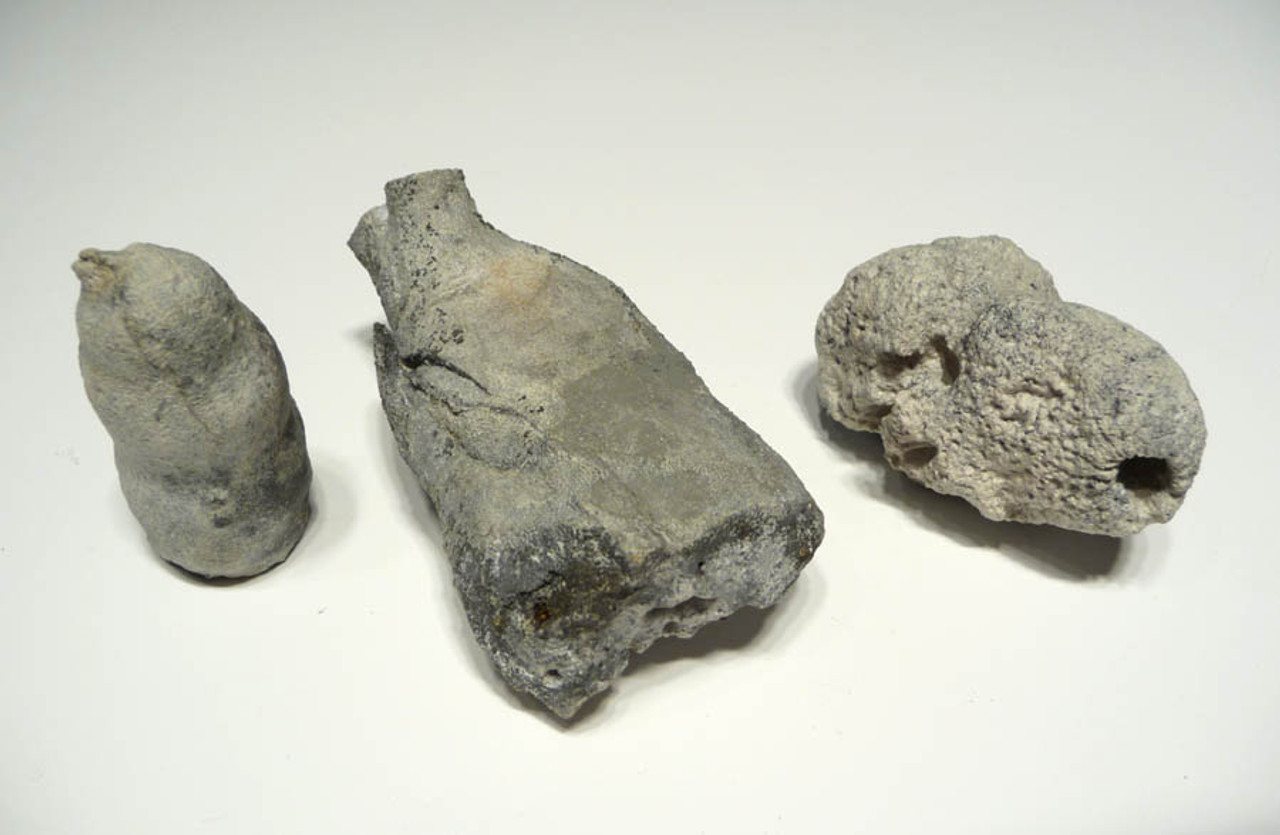 "SP014 - FOSSIL CRETACEOUS SPONGE ""REEF"" OF 3 CAMPANIAN-ERA FULLY INFLATED SEA SPONGES OF DIFFERENT SPECIES"