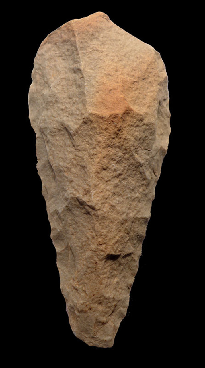 ACH204 - MUSEUM GRADE MASTERPIECE ACHEULIAN HAND AXE WITH SPECTACULAR COLOR AND FLAKING MADE BY HOMO ERECTUS (ERGASTER)