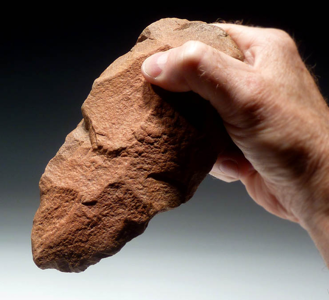 ACH171 - AFRICAN RED-ORANGE ACHEULIAN HANDAXE WITH MAGNIFICENT FORM AND FLAKING MADE BY HOMO ERGASTER (ERECTUS)