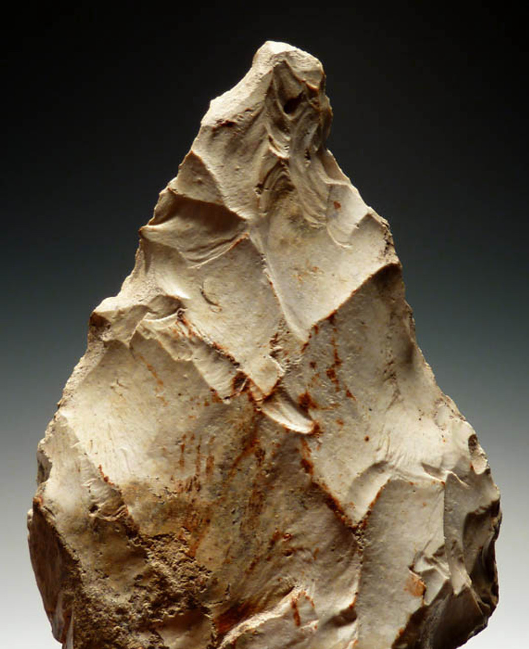M242 - NEANDERTHAL MOUSTERIAN IN ACHEULIAN TRADITION (MAT) FLINT BIFACIAL HANDAXE FROM FRANCE WITH SHARP TIP