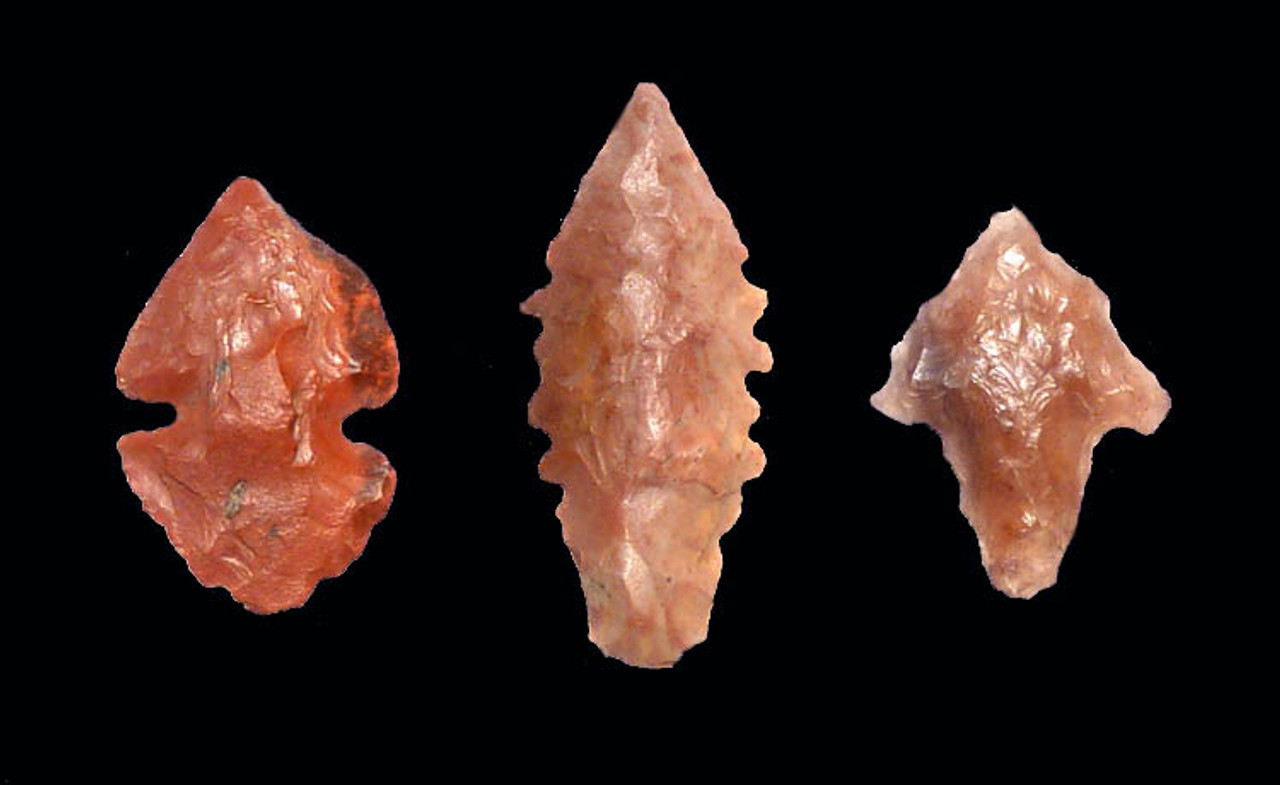 CAP175 - SET OF THREE INTACT GEM QUALITY RED AFRICAN NEOLITHIC BATTLE MICRO-ARROWHEADS SIMILAR TO THOSE FOUND IN WARRIOR BURIALS