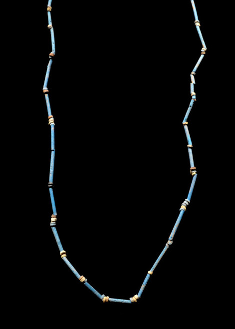 """NE163 - SUPERB 35"""" WEARABLE AUTHENTIC ANCIENT EGYPTIAN """"MUMMY BEAD"""" FAIENCE, STONE AND CLAY BEAD NECKLACE"""