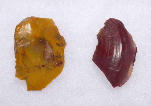 M391 - COLORFUL JASPER NEANDERTHAL MOUSTERIAN FLAKE TOOL SET FROM FONTMAURE FRANCE