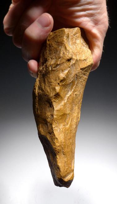BEAUTIFUL BONE-SMASHING GOLDEN ACHEULIAN QUARTZITE HAND AXE FROM HOMO ERGASTER OF AFRICA *ACH264