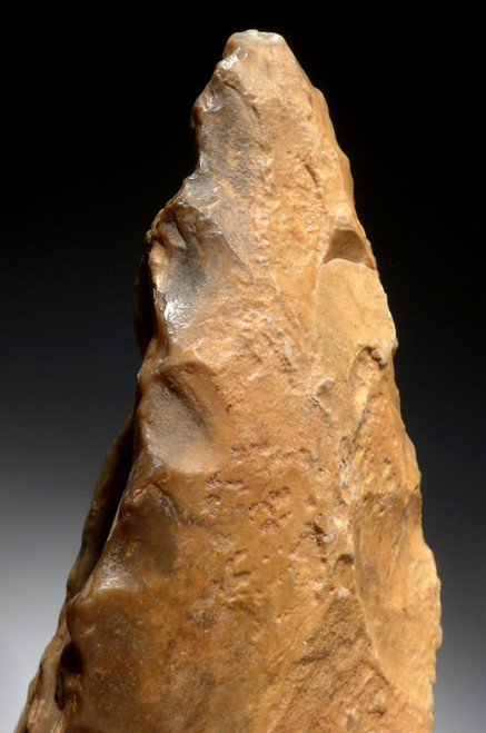 GOLDEN TABULAR FLINT ACHEULIAN PICK HAND AXE FROM LOWER STONE AGE AFRICA *ACH255