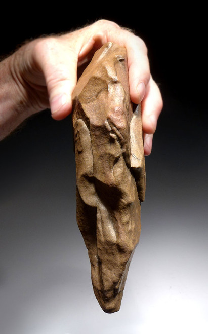 MASSIVE INVESTMENT-GRADE STONE AGE ACHEULIAN HAND AXE FROM AFRICA DESIGNED FOR SMASHING BONES OF LARGE HUNTED GAME ANIMALS *ACH260