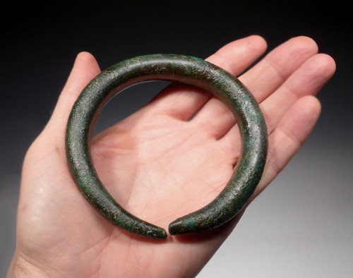 MASSIVE SOLID LURISTAN BRONZE ANCIENT NEAR EASTERN BANGLE BRACELET / ANKLET *NEX002