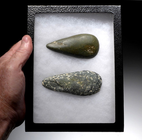 TWO PRE-COLUMBIAN MAYAN GREENSTONE DIORITE POLISHED WAR AXES *PC258
