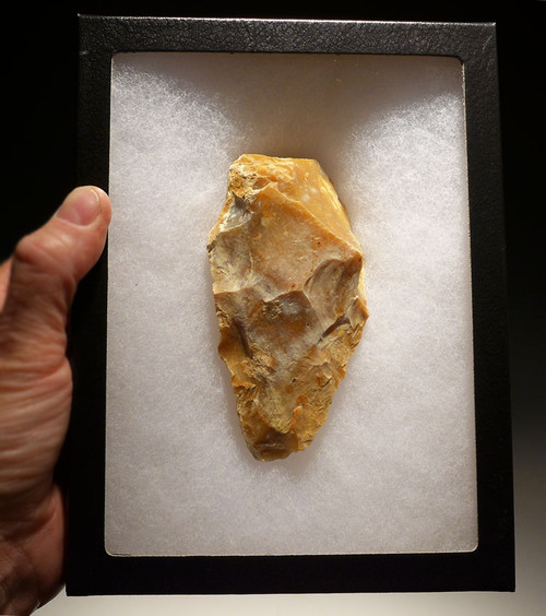 SUPERB FRENCH PREHISTORIC HOMO ERECTUS ACHEULIAN FLINT HANDAXE FROM EUROPE'S FIRST HUMANS *ACH217