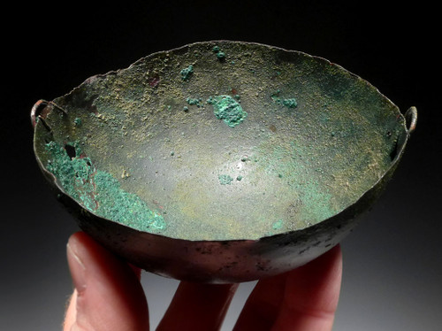 RARE INTACT ANCIENT NEAR EASTERN BRONZE CEREMONIAL OFFERING BOWL WITH EVIDENCE OF LONG-TERM RITUAL USE *NE180