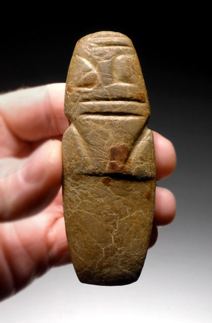 PRE-COLUMBIAN AXE GOD CARVED PENDANT IN OLIVE BROWN HARDSTONE *PC115
