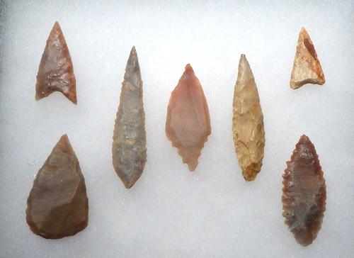 SEVEN HIGH GRADE CAPSIAN AFRICAN NEOLITHIC ARROWHEADS *CAP166