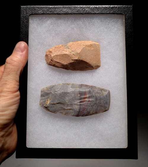 TWO CHOICE COLORFUL CAPSIAN AFRICAN NEOLITHIC KNAPPED AND POLISHED FLINT WAR AXES *CAP199