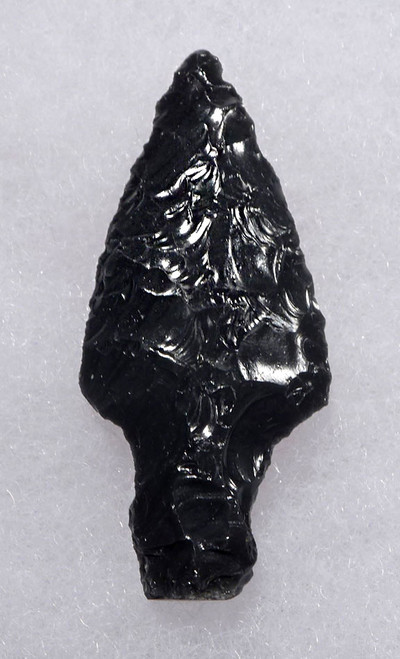SUPERB LONG TANGED TRIANGULAR PRE-COLUMBIAN OBSIDIAN ATLATL SPEARHEAD  * PC301