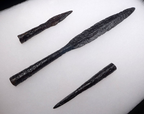 RARE MUSEUM SET OF A CAVALRY LANCE WITH BUTT SPIKE AND THROWING JAVELIN SPEAR FROM THE BYZANTINE ROMAN EMPIRE *R160