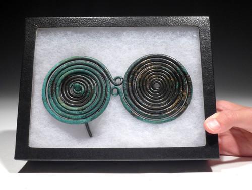 MUSEUM-CLASS LARGE ANCIENT EUROPEAN BRONZE SPIRAL PIN ORNAMENT  *CEL017