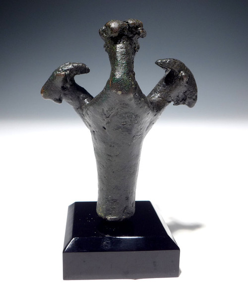 UNUSUAL ANCIENT BRONZE LURISTAN RAMS HEAD FIGURAL FINIAL MACE HEAD FROM THE NEAR EAST  *LUR185