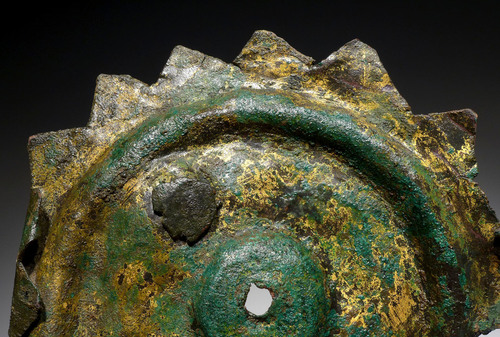 TWO EXTREMELY RARE MUSEUM-CLASS ANCIENT GILDED AND BRONZE SHIELD BOSS DECORATIONS OF THE NEAR EASTERN LURISTAN CULTURE *NE191