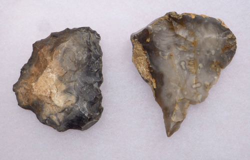 TWO SUPERB EUROPEAN NEOLITHIC OMALIEN CULTURE FLINT TOOLS SHOWING EXTENSIVE USE  *N170