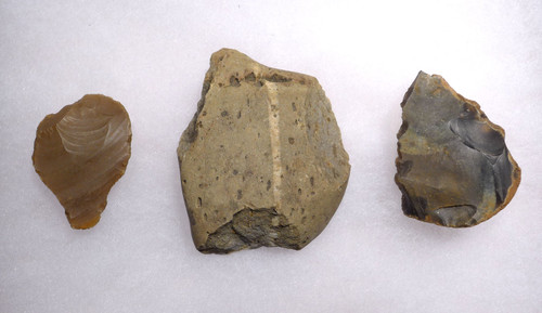 PREHISTORIC ENGLAND OLDOWAN PEBBLE TOOL SCRAPERS FROM FAMOUS MAMMOTH SITE  *PB165