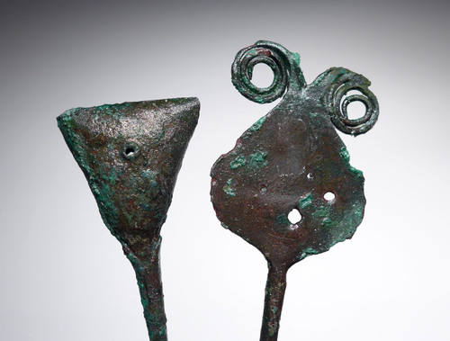 ANCIENT PRE-COLUMBIAN CHIMU COPPER DECORATIVE AND RATTLE PINS  *PC329