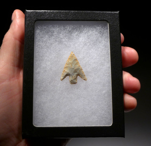 RARE FINEST CAPSIAN AFRICAN NEOLITHIC DELTA BARBED ARROWHEAD  *CAP285
