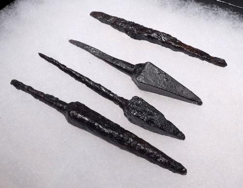 SET OF 4 BYZANTINE ROMAN ARMOR-PIERCING IRON ARROWHEADS FROM CAVALRY ARCHERY *R174
