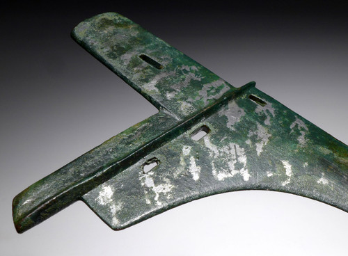 RARE SILVERED BRONZE ANCIENT CHINA GE DAGGER AXE HEAD FROM A ZHOU DYNASTY ARISTOCRAT WARRIOR  *SEA4