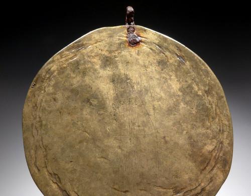 ANCIENT SAKA SCYTHIAN GILDED HAMMERED BRONZE ANCIENT DISK PENDANT  *LUR207