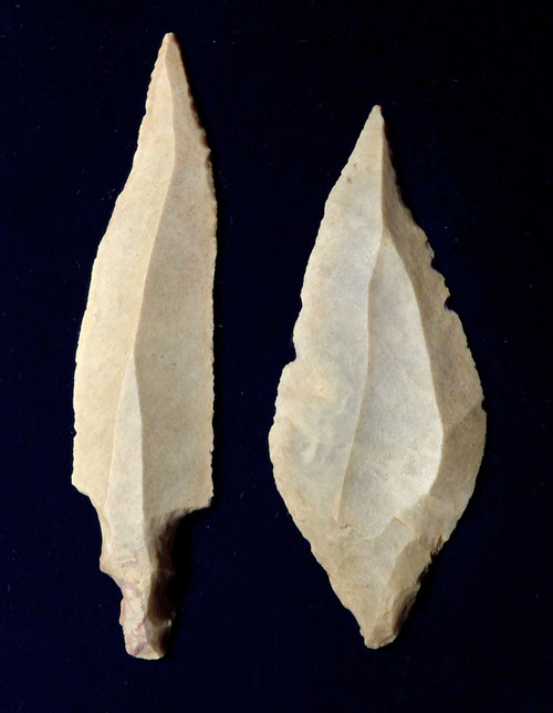 TWO UNIFACIAL AFRICAN CAPSIAN NEOLITHIC ARROWHEADS  *CAP324