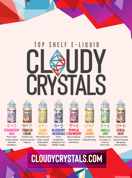 Cloudy Crystals Nic Salt Sample Pack | 8 x 10ml | 30mg (Special Buy)