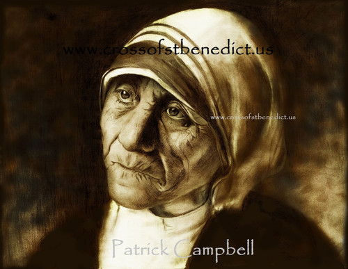 """Hope in Darkness"", pencil drawing of  Mother Teresa of Calcutta by Patrick Campbell"