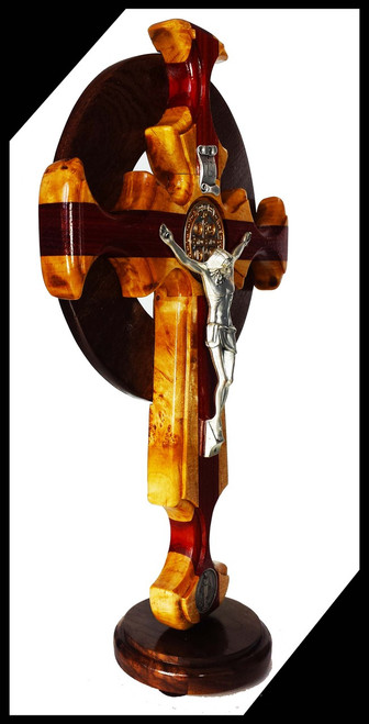 Bestseller: Trinity Celtic St. Benedict Crucifix with Miraculous Medal, wall or table top option, 14 inches, solid wood of maple,  bloodwood and walnut Celtic ring.