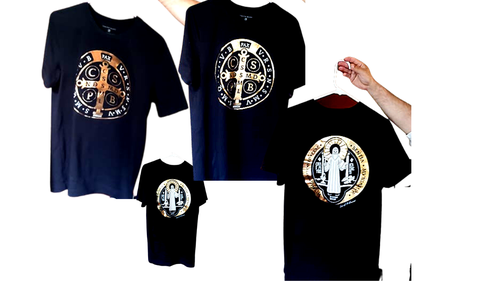 """Authentic St. Benedict  Medal T-Shirt (UNISEX)  for the """"Wear Your Prayer"""" Campaign (Printing is FRONT AND BACK) - Great Gift for Bishops, Priests, Deacons and the Religious Brothers and Sisters, Seminarians"""